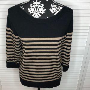 Karen Scott Striped 3/4 Sleeve Sweater Large